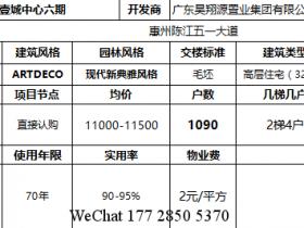 惠州陈江壹城中心6期户型,5期货量: